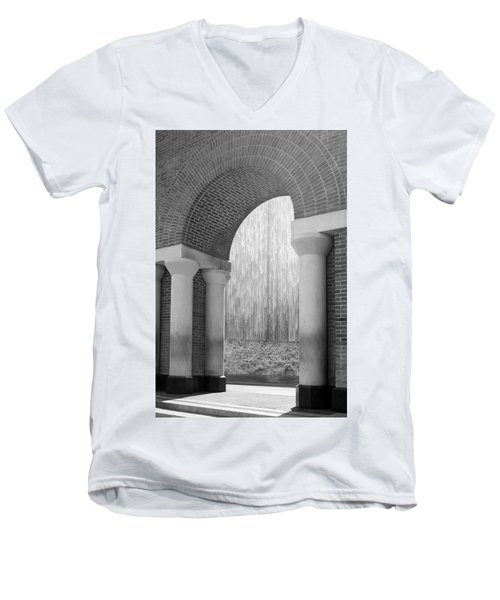 Waterwall And Arch 3 In Black And White Men's V-Neck T-Shirt