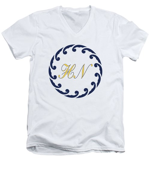 Wave Ring And Yellow Cipher Men's V-Neck T-Shirt