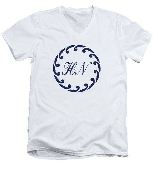 Wave Ring And Cipher In Blue Men's V-Neck T-Shirt