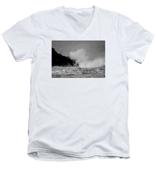 Wave Watching Men's V-Neck T-Shirt by Roy McPeak