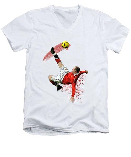 Wayne Rooney Men's V-Neck T-Shirt by Armaan Sandhu