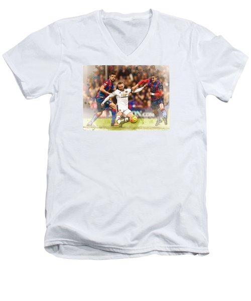Wayne Rooney Shoots At Goal Men's V-Neck T-Shirt by Don Kuing