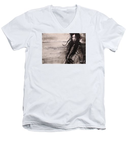 Men's V-Neck T-Shirt featuring the painting We Dreamed Our Dreams by Jarmo Korhonen aka Jarko
