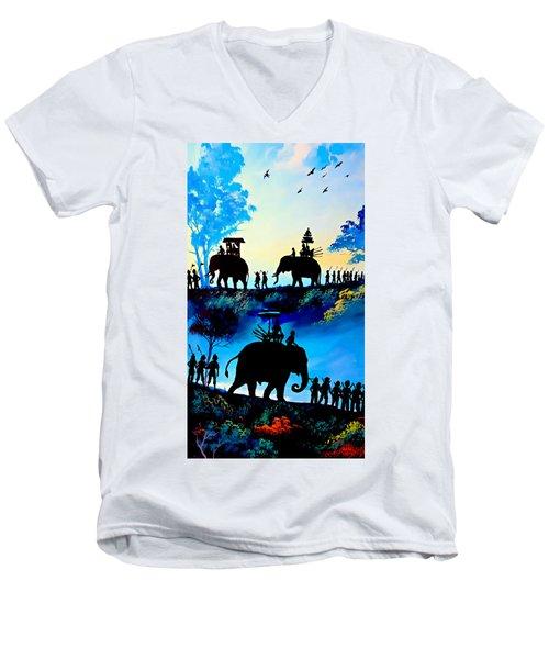 We March At Sunrise  Men's V-Neck T-Shirt by Ian Gledhill