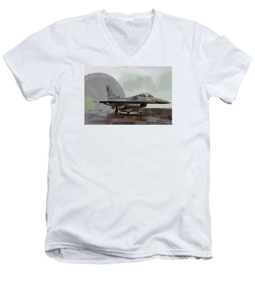 Men's V-Neck T-Shirt featuring the digital art Weather Day by Walter Chamberlain