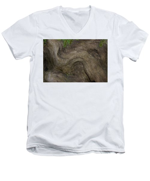 Men's V-Neck T-Shirt featuring the photograph Weathered Tree Root by Mike Eingle