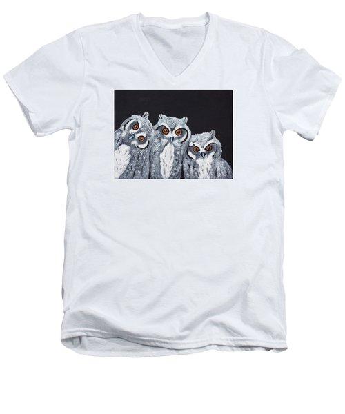 Wee Owls Men's V-Neck T-Shirt by Scott Wilmot