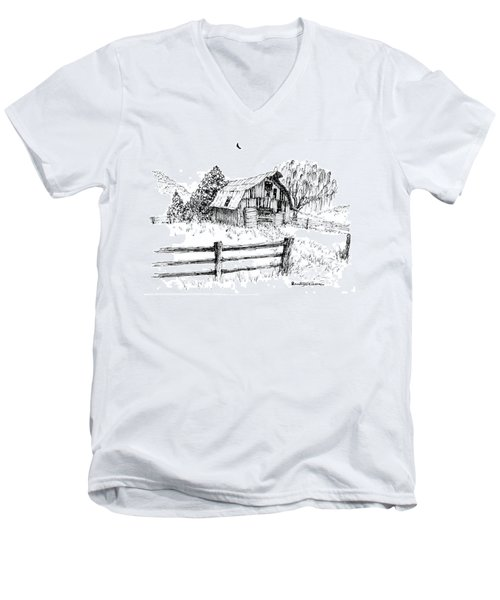 Weeping Willow And Barn One Men's V-Neck T-Shirt