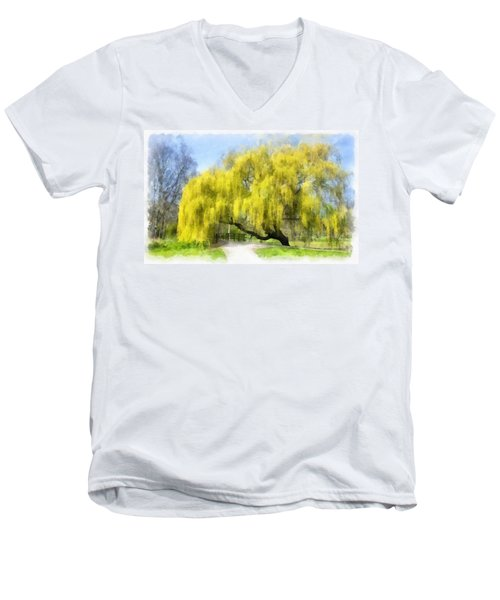 Weeping Willow Aquarell Men's V-Neck T-Shirt
