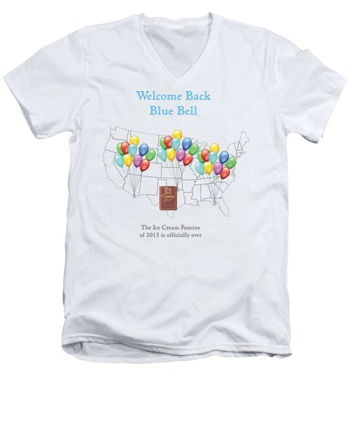 Welcome Back Blue Bell Men's V-Neck T-Shirt by Jacquie King
