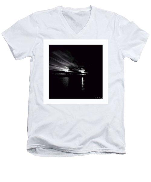 Welcome Beach Night Sky Men's V-Neck T-Shirt by Elaine Hunter
