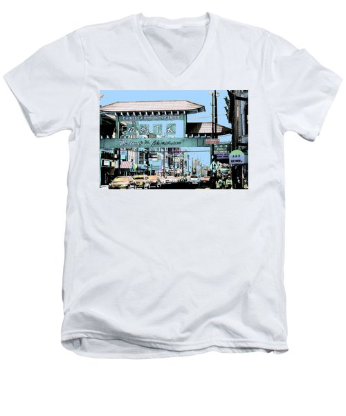 Welcome To Chinatown Sign Blue Men's V-Neck T-Shirt by Marianne Dow