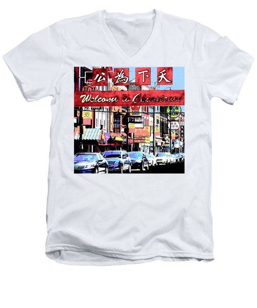Welcome To Chinatown Sign Red Men's V-Neck T-Shirt