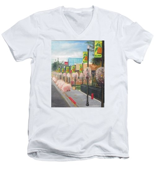 Men's V-Neck T-Shirt featuring the painting Welcome To Vernal by Sherril Porter