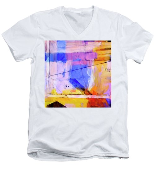 Men's V-Neck T-Shirt featuring the painting Welder by Dominic Piperata