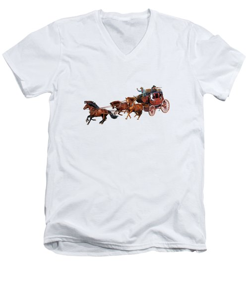 Wells Fargo Stagecoach Men's V-Neck T-Shirt