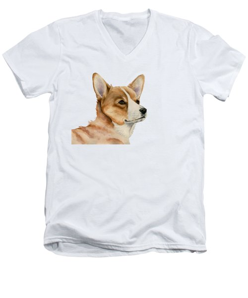 Welsh Corgi Dog Painting Men's V-Neck T-Shirt