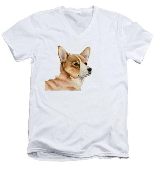 Welsh Corgi Dog Painting Men's V-Neck T-Shirt