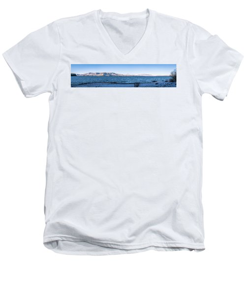 Men's V-Neck T-Shirt featuring the photograph West Almanor Blue by Jan Davies