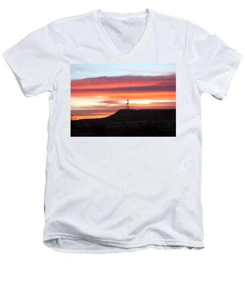 Mile Marker 122 West Texas Sunrise Men's V-Neck T-Shirt
