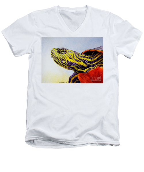 Men's V-Neck T-Shirt featuring the drawing Western Painted Turtle by Christopher Shellhammer