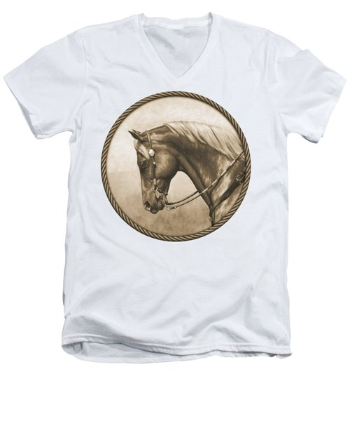 Western Pleasure Horse Phone Case In Sepia Men's V-Neck T-Shirt