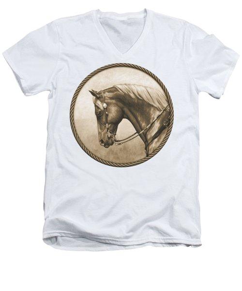Western Pleasure Quarter Horse In Sepia Men's V-Neck T-Shirt