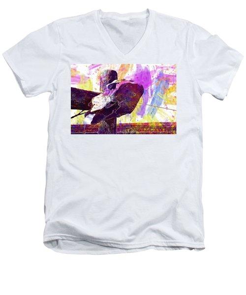 Men's V-Neck T-Shirt featuring the digital art Western Skull Farm Trophy Skeleton  by PixBreak Art