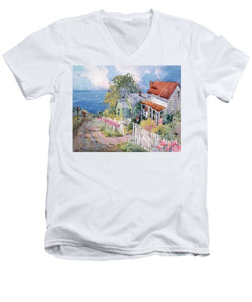 Westport By The Sea Men's V-Neck T-Shirt by Joyce Hicks