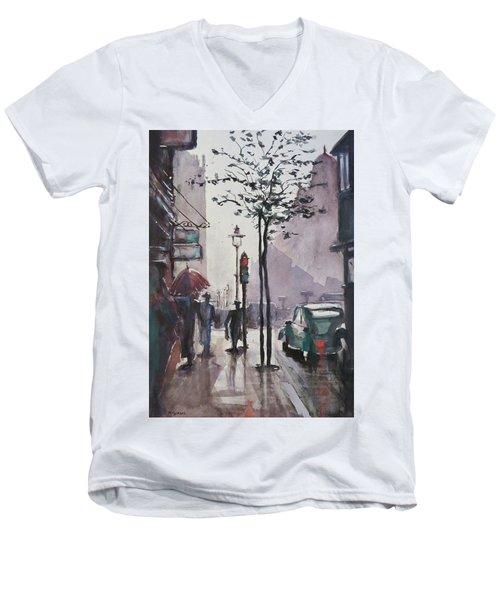 Wet Afternoon Men's V-Neck T-Shirt by Geni Gorani