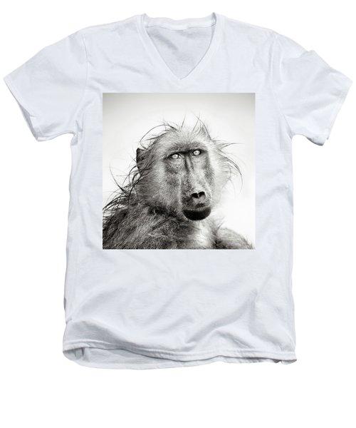 Wet Baboon Portrait Men's V-Neck T-Shirt by Johan Swanepoel