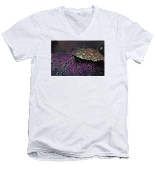 Wet Purple Leaves Men's V-Neck T-Shirt by Bonnie Bruno