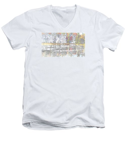 Men's V-Neck T-Shirt featuring the photograph Wetland Reflections Abstract by Mike Breau