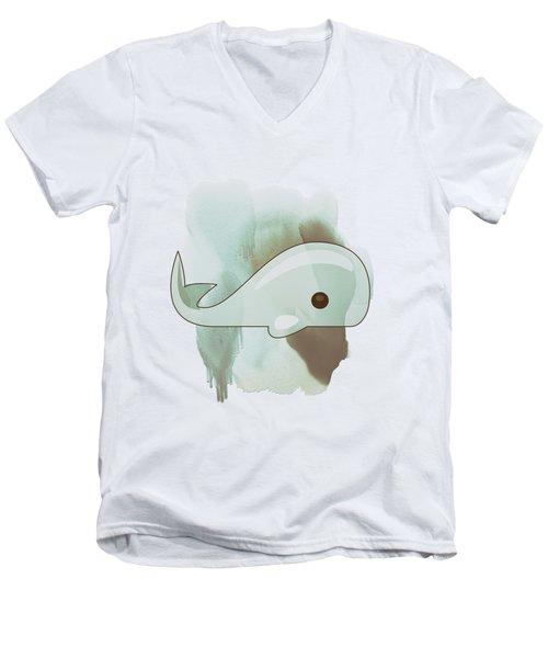 Whale Art - Bright Ocean Life Pastel Color Artwork Men's V-Neck T-Shirt by Wall Art Prints