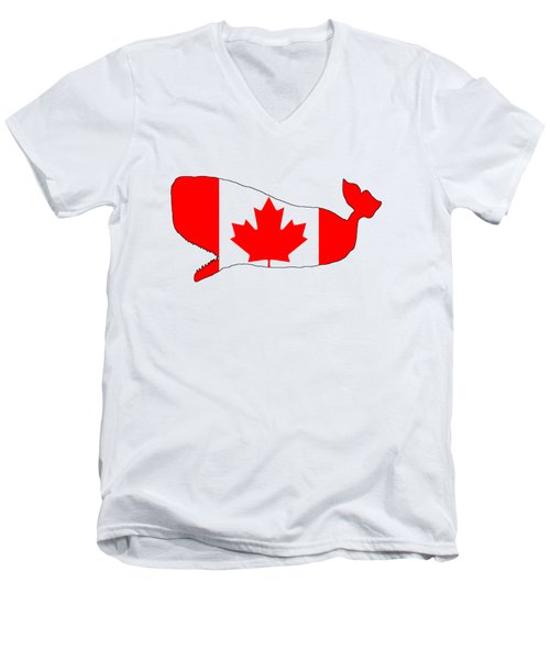 Whale Canada Men's V-Neck T-Shirt by Mordax Furittus