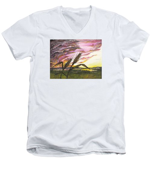 Wheat Field Men's V-Neck T-Shirt by Darren Cannell
