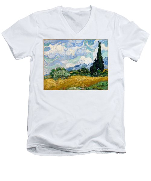 Men's V-Neck T-Shirt featuring the painting Wheatfield With Cypresses by Van Gogh