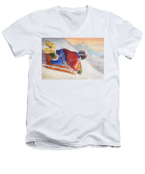 Men's V-Neck T-Shirt featuring the painting Wheee by Marilyn Jacobson