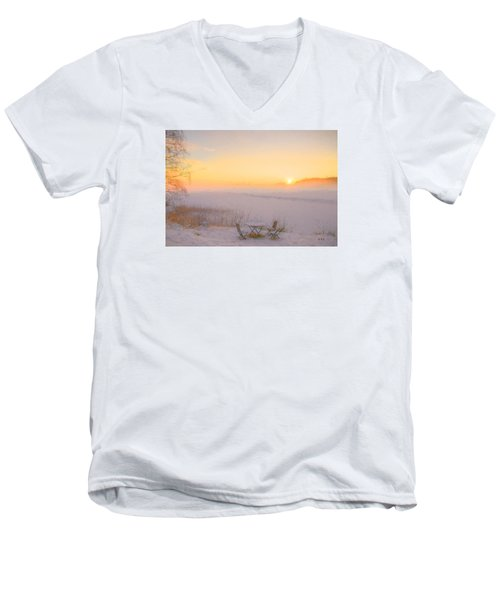 Men's V-Neck T-Shirt featuring the painting When Joy Fills The Heart by Rose-Maries Pictures