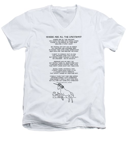 Men's V-Neck T-Shirt featuring the drawing Where Are All The Unicorns by John Haldane