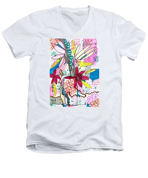 Men's V-Neck T-Shirt featuring the mixed media Where Did You Put My Cup? by Lisa Noneman