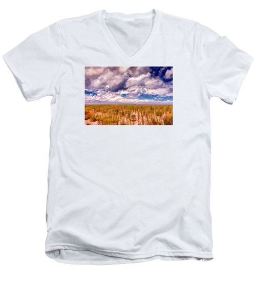 Men's V-Neck T-Shirt featuring the photograph Where Land Meets Sky by Gary Slawsky