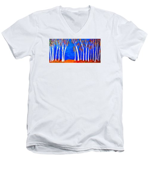 Whimsical Birch Trees Men's V-Neck T-Shirt by Haleh Mahbod