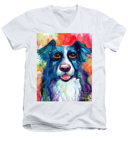 Whimsical Border Collie Dog Portrait Men's V-Neck T-Shirt