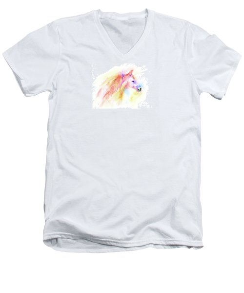 Men's V-Neck T-Shirt featuring the painting Whisper by Elizabeth Lock