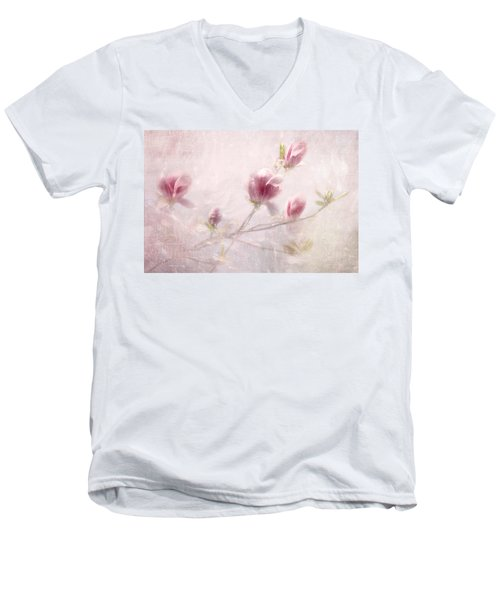 Men's V-Neck T-Shirt featuring the photograph Whisper Of Spring by Annie Snel