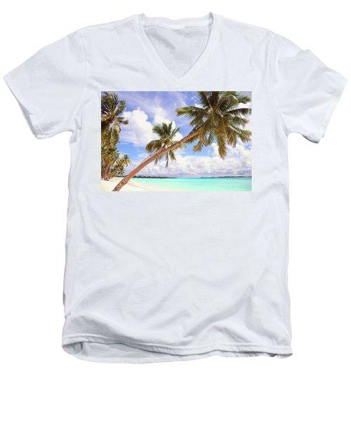 Whispering Palms. Maldives Men's V-Neck T-Shirt by Jenny Rainbow