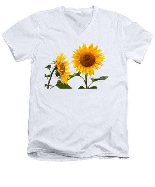 Whispering Secrets Sunflowers On White Men's V-Neck T-Shirt