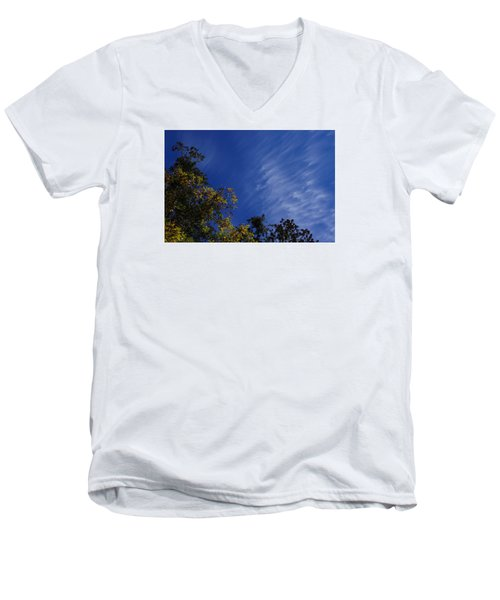 Whispy Clouds Men's V-Neck T-Shirt by Adria Trail