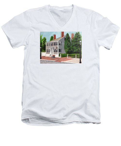 Men's V-Neck T-Shirt featuring the painting Whistler House by Cynthia Morgan
